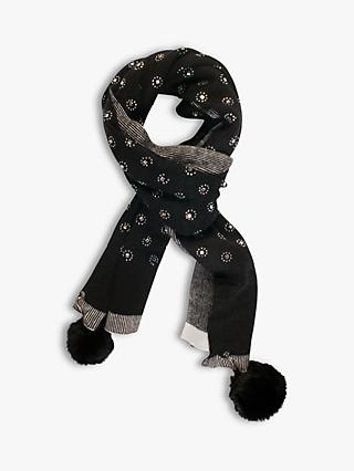 chesca Faux Fur Diamond Embellished Scarf, Black