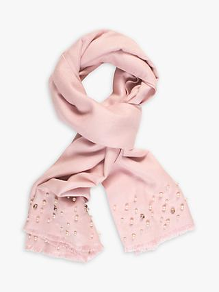 chesca Pearl Pashmina Diamond Studded Scarf, Pink