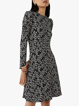 Warehouse Chevron Print Puff Sleeve Dress, Black
