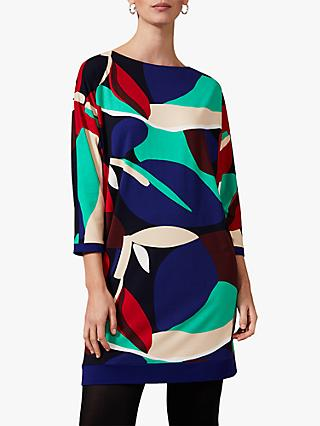 Phase Eight Adalee Leaf Dress, Blue/Multi