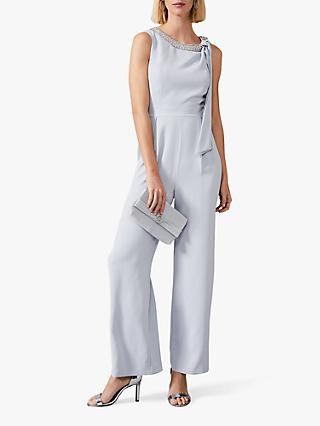 Phase Eight Charity Beaded Neck Jumpsuit, Mineral