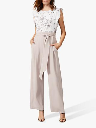 Phase Eight Victoriana Floral Jumpsuit, Ivory/Taupe