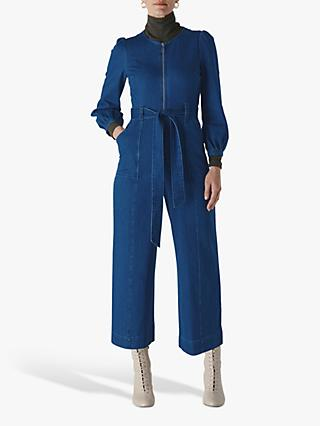 Whistles Estelle Denim Jumpsuit, Denim Blue