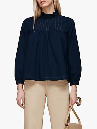 Whistles Maja High Neck Pin Tuck Blouse, Navy