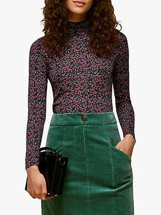 Whistles Star Print Floral Wool Top, Multi
