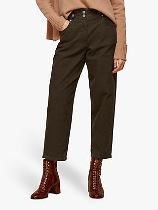 Whistles Paperbag High Waist Cotton Corduroy Trousers, Khaki