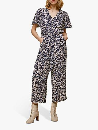 Whistles Wheat Floral Jumpsuit, Navy/Multi