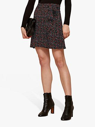 Whistles Starflower Print Wrap Skirt, Black Multi
