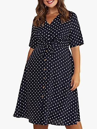 Yumi Curves Spot Tie Knot Dress, Navy