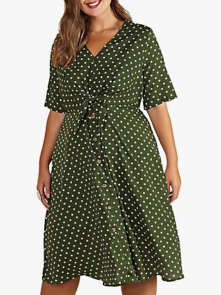 Yumi Curves Flared Polka Dot Dress, Sage/White