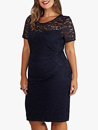 Yumi Curves Lace Ruched Dress, Navy