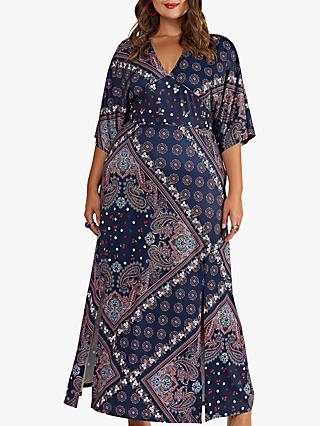 Yumi Curves Ditsy Scarf Print Maxi Dress, Navy