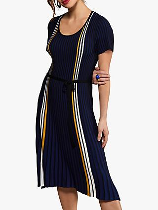 Yumi Stripe Knitted Dress, Blue/Multi