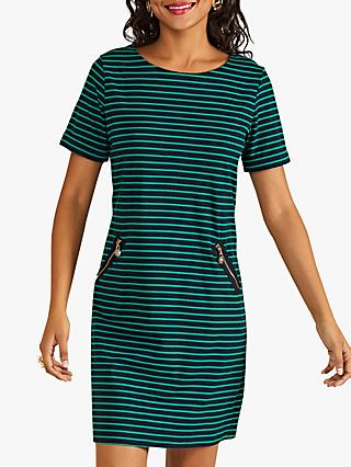 Yumi Nautical Stripe Tunic Dress, Green