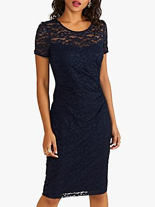 Yumi Ruched Lace Dress, Navy