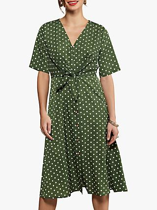 Yumi Flared Polka Dot Dress, Sage/White