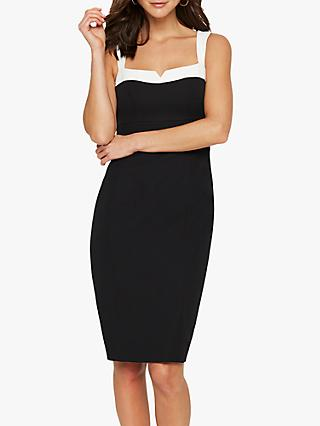 Damsel in a Dress Vida Colour Block Fitted Dress, Black/Ivory