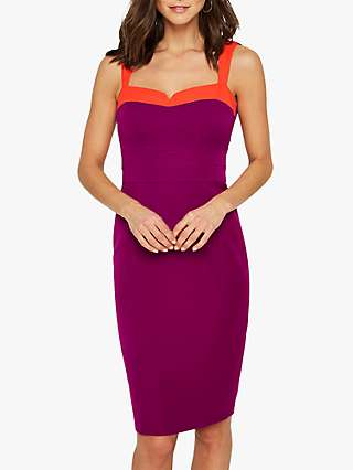 Damsel in a Dress Vida Colour Block Fitted Dress, Purple/Orange