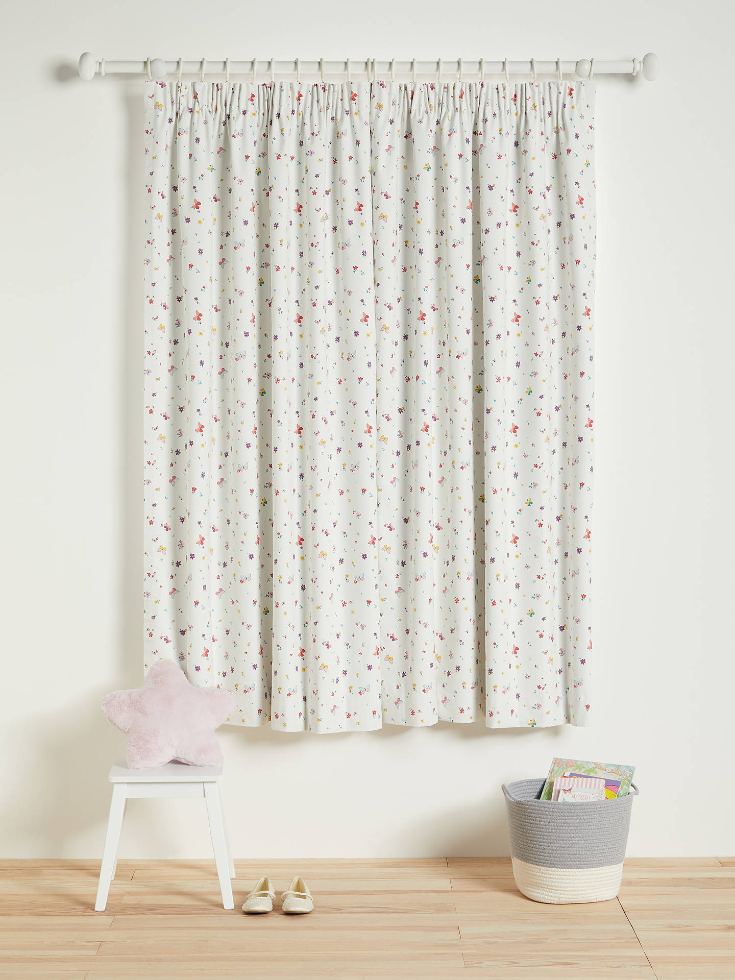 Buy little home at John Lewis Butterflies Ditsy Print Pencil Pleat Blackout Children's Curtains, Multi, W117 x Drop 137cm Online at johnlewis.com