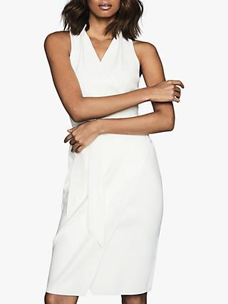 Reiss Macy Halterneck Tie Belt Dress, White