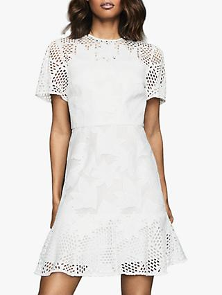Reiss Damara Lace Mini Dress, White