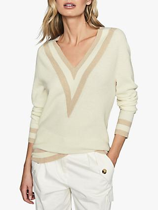 Reiss Katie V-Neck Colour Block Jumper, Neutral