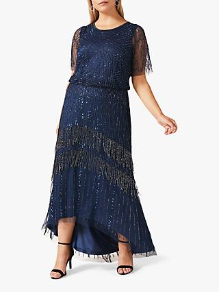 Studio 8 Evadine Sequin and Bead Embellishment Maxi Dress, Petrol