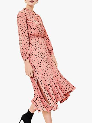Oasis Spot Print Shirt Dress, Dusky Pink