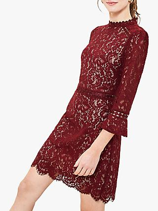 Oasis Lace Trim Shift Dress, Burgundy