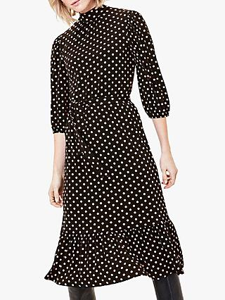 Oasis Spot Midi Dress, Black/Multi