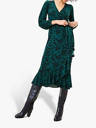 Oasis Leopard Print Wrap Dress, Green/Multi