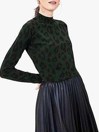 Oasis Leopard Print Funnel Neck Jumper, Green/Multi