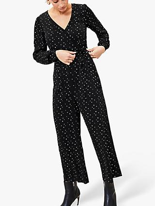 Oasis Star Print Jumpsuit, Black