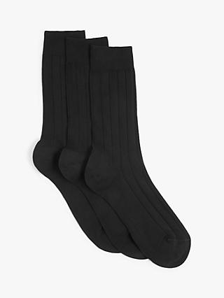 John Lewis & Partners Made in Italy Egyptian Cotton Socks, Pack of 3, Black