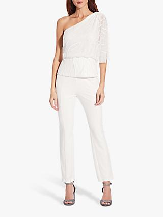 Adrianna Papell Asymmetric Beaded Blouson Top, Ivory