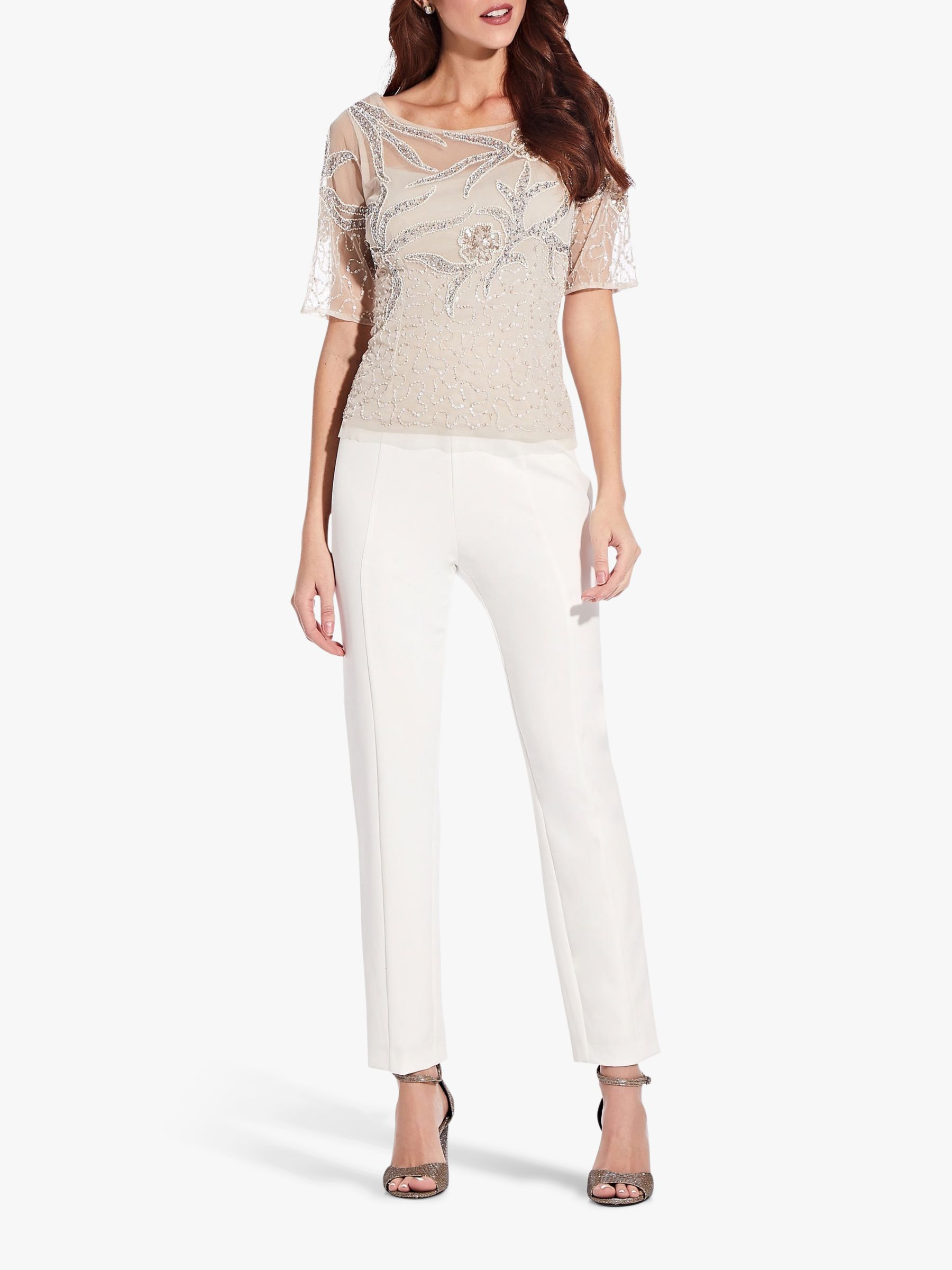 Adrianna Papell Adrianna Papell Beaded Illusion Top, Biscotti