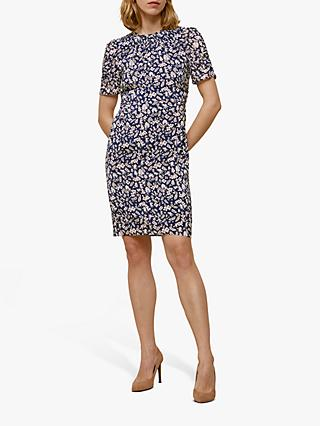 Whistles Wheat Floral Silk Bodycon Dress, Navy/Multi