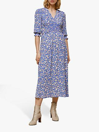 Whistles Wheat Floral Midi Dress, Blue/Multi