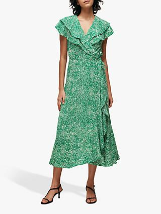 Whistles Blotched Animal Maxi Dress, Green