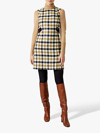 Hobbs Cinthia Wool Check Dress, Bamboo