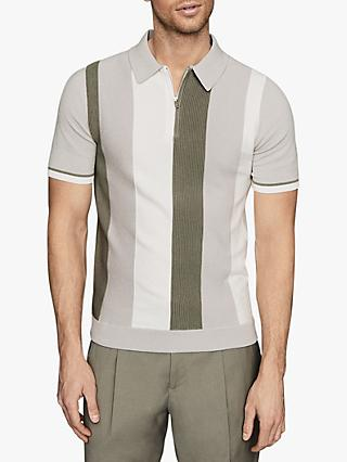 Reiss Ossie Striped Zip Neck Polo Shirt, Green