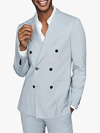 Reiss Exquisite Wool Blend Double Breasted Blazer, Soft Blue