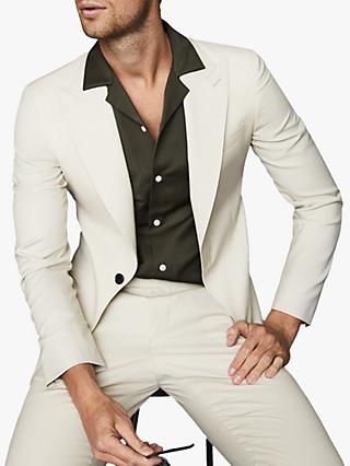 Reiss Casa Peak Lapel Wool Suit Jacket, Ivory