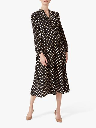 Hobbs Andrea Dress, Black/Stone