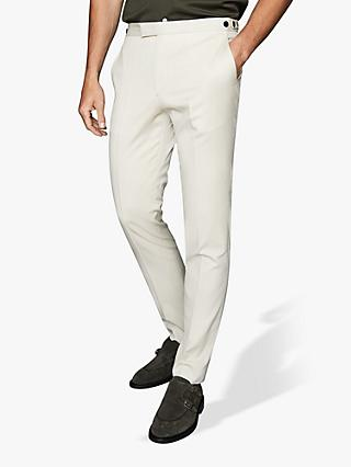 Reiss Casa Tailored Slim Fit Wool Gabardine Suit Trousers, Ivory