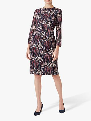 Hobbs Trina Silk Blend Dress, Midnight Rose