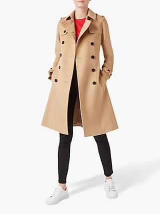 Hobbs London Saskia Wool Trench Coat, Camel