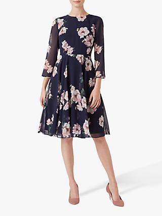 Hobbs Norah Floral Dress, Midnight Blush