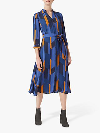 Hobbs Dalia Shirt Dress, Navy/Multi
