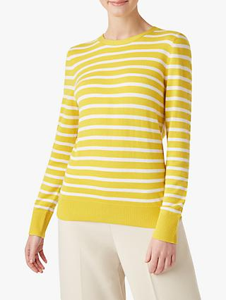 Hobbs Lucy Stripe Sweater, Yellow/Ivory